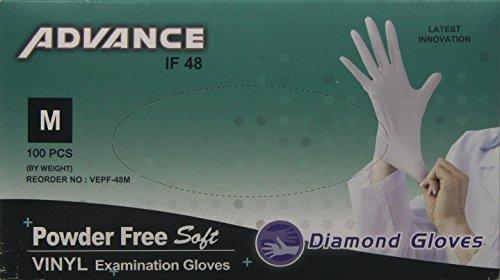 Diamond Gloves Advance Powder-Free Soft Vinyl Examination Gloves, Clear, Medium, 100 Count by Diamond Gloves