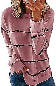 imrusan Womens Casual Crewneck Tie Dye Sweatshirt Striped Printed Loose Soft Long Sleeve Pullover Tops Shirts,
