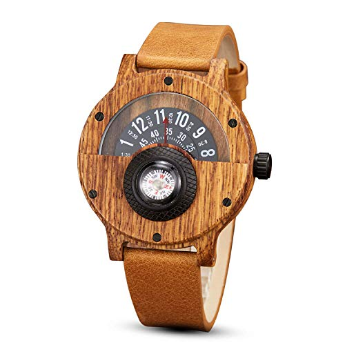 Men's Wood Watch Unique Leather Band Turntable Dial Men Military Watches with Compass Quartz ()