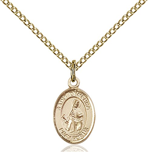 14K Gold Filled Saint Dymphna Petite Charm Medal, 1/2 Inch