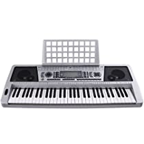 LCD 61 Key MIDI Silver Electric Keyboard Music Digital Personal Electronic Piano