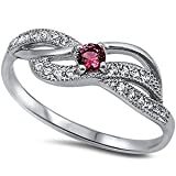 New Simulated Simulated Ruby & Cubic Zirconia Fashion .925 Sterling Silver Ring Sizes 5-9 (4)