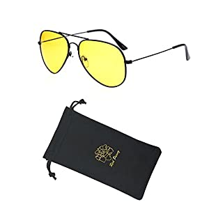 Red Peony Yellow Night Vision Polarized Aviator Sunglasses Mens Womens Driving Glasses AORON Design