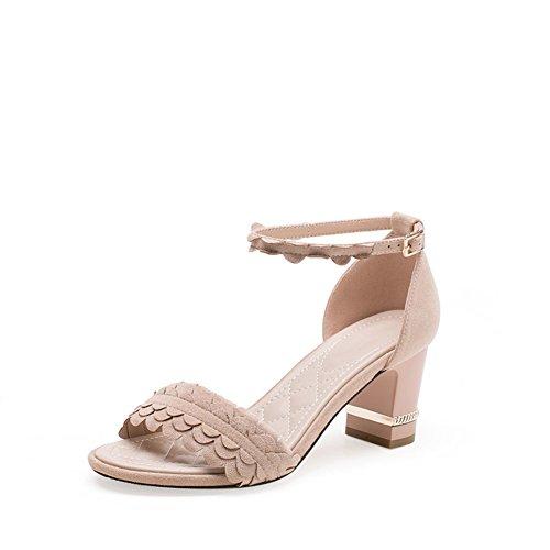 PUMPS Sandalen Schuhe,Fashion Korean Version der Rough Heel Heels,Casual Wort mit Schuhen-B Fußlänge=23.8CM(9.4Inch)