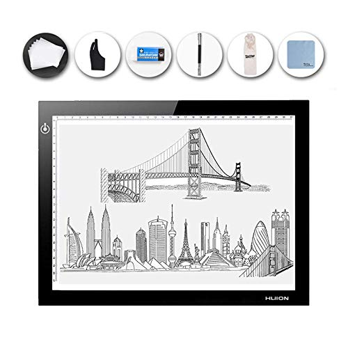 HUION L4S Slim Light Pad, LED Light Box Pad - USB Powered, Dimmable Brightness, Eye Protect - Only 0.19in (5mm) Light Pad with Cleaning Cloth for Artists Designing, Animation, Sketching and More