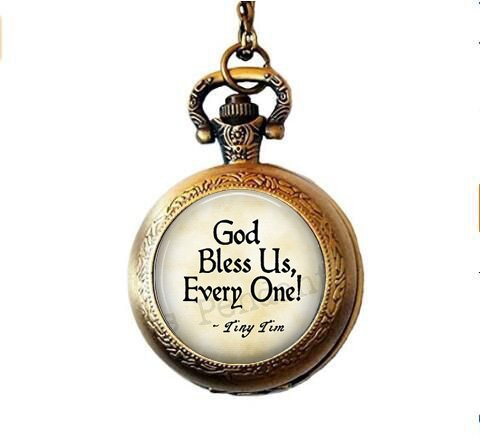 lukuhan God Bless Us Every One - Tiny Tim Quote - A Christmas Carol Jewelry - Tiny Tim Pendant - Christmas Carol Quote - Scrooge - Bah Humbug Pocket Watch Necklace for $<!--$3.99-->