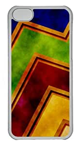 iPhone 5C Case Cover - Grunge Zigzag Abstract Custom Design PC Case for Apple iPhone 5C - Transparent