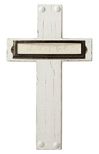Mud Pie Cross (Mud Pie Bookplate Detailing Child of God Pine Wood Cross Wall Art, White)