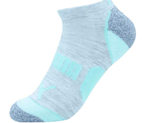 Puma Ladies 8-pair No Show Athletic Socks for Women (Sock Size 9-11) Shoe Size 5-9.5 (WhiteGrey,Peach,Green)