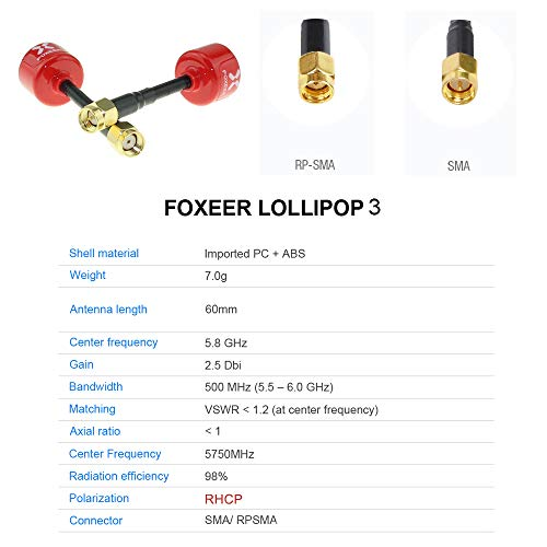 FOXEER FPV Antenna Lollipop V3 Super Mini RHCP Antenna 5.8G 2.5dBi SMA Male and Female RP-SMA Male f - http://coolthings.us