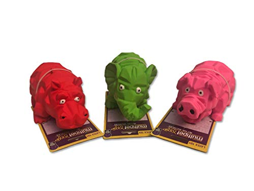 Multipet Origami Latex Dog Toy Assorted Colors Size:Origami Pack of 3 Assorted ()