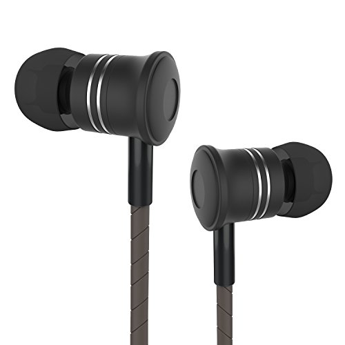 In Ear Headphones Earbud Moniko Corded Headsets with Microphone Stereo Wired Headphone Dynamic Crystal Clear Sound 3.5mm for iPhone Android iPod iPad Laptop Mac Tablet Black,Good Christmas Gift