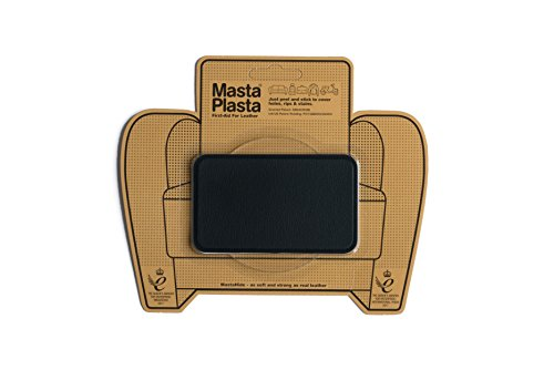 MastaPlasta Self-Adhesive Patch for Leather and Vinyl Repair, Medium, Black - 4 x 2.4 Inch