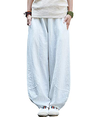 IXIMO Women's Linen Wide Leg Pants Loose Fit Bloomers Trousers with Elastic Waist Style3 White - Linen Wide Capris Leg