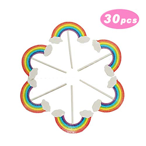 Paper Cupcake Toppers Baking Cake Decoration Crystal Glitter Colorful Rainbow Dessert Cake Birthday Cake Insert Decorative, 30Pcs/Pack
