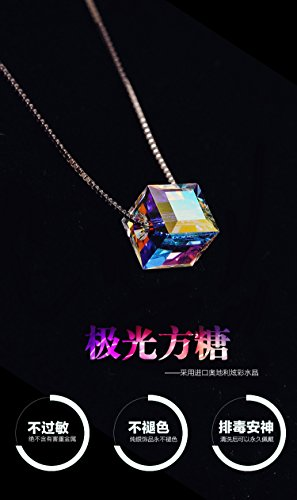 Adecco LLC New arrival fashion colorful square design 925 sterling silver ladies`necklaces/short chain/chokers necklace (6mm cube) 6 Mm Cut Cubes