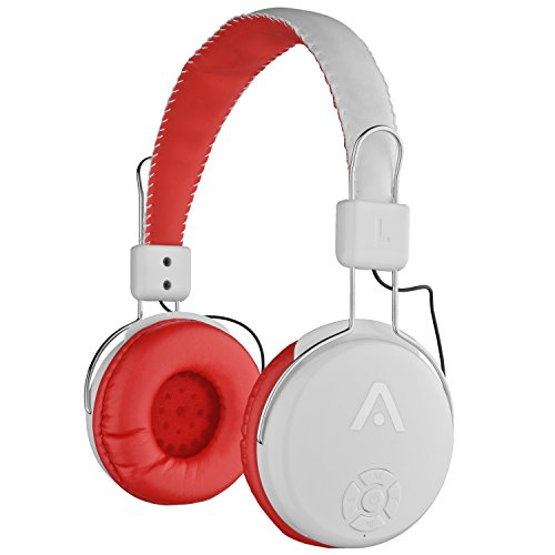Audiomate A21 Wireless Bluetooth Headphones with Integrated FM Radio, Microphone and Micro SD Card Slot - White / Red