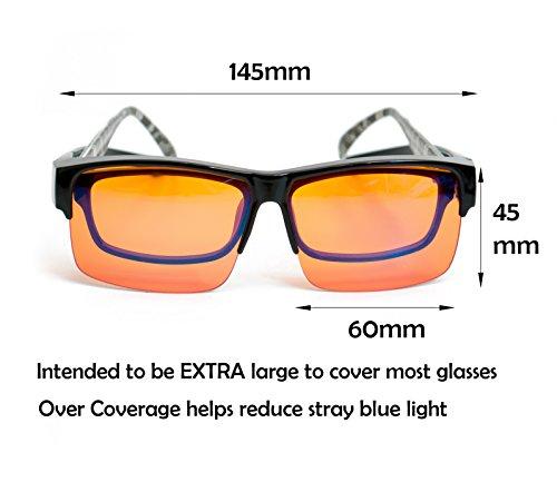 fitover anti blue blocking computer glasses fits over prescription eyeglasses extra amber. Black Bedroom Furniture Sets. Home Design Ideas