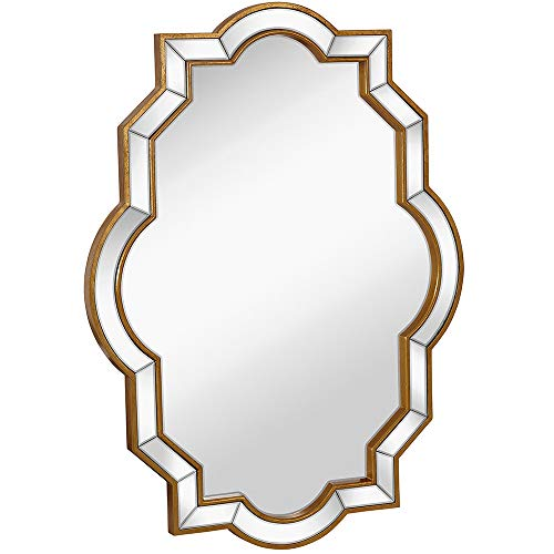 Large Moroccan Inspired Mirrored Edge Framed Wall Mirror with Gold Accents | Premium Silver Backed Glass Panel Vanity, Bedroom, or Bathroom Hangs Vertical or Horizontal (30
