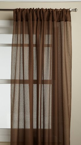 Lorraine Home Fashions Reverie 60-inch x 72-inch Tailored Panel, Chocolate (Curtain Tailored Panel Sheer)