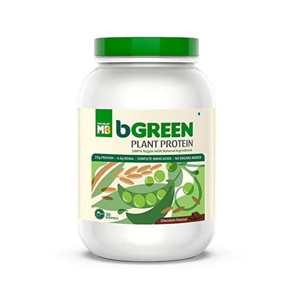bGREEN by Muscleblaze Plant Protein Powder, 25g 100% VEGAN Protein powder, Complete Amino Acid Profile, Antioxidant Rich… 2021 July PLANT BASED NUTRITION: A 100% plant-based protein powder - a blend of pea and brown rice protein with a complete amino acid profile. This herbal 100% vegan protein powder is free from any artificial preservatives, heavy metals, and added sugar. FOR MUSCLE GROWTH AND RECOVERY: This vegan plant protein is ideal as a post-workout supplement as it helps with muscle growth & recovery. It offers 25g pure, clean plant protein per serving & 4.6g BCAAs to support muscle growth and recovery. BETTER DIGESTION & ABSORPTION: It is enriched with plant-based enzymes Papain and Bromelain to boost absorption & digestion.