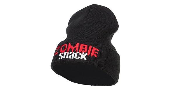 c6302621eb3 Amazon.com  E4hats Halloween Zombie Snack Embroidered Long Beanie - Black  OSFM  Clothing