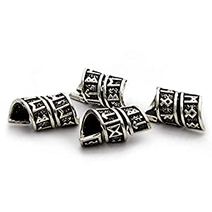 Best Epic Trends 417SgQOpk0L._SS300_ Viking Rune Beard Bead Coil Set (4) - Norse Rings for Hair, Dreads & Beards