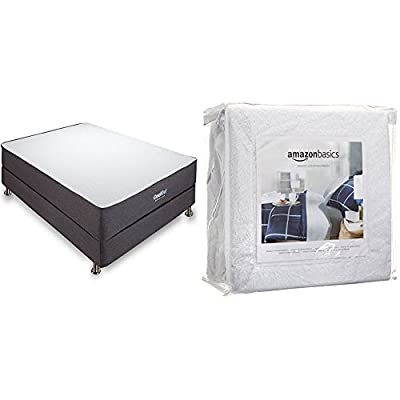 Classic Brands 10.5 Inch Cool Gel Ventilated Memory Foam Mattress, Cal King with AmazonBasics Hypoallergenic Vinyl-Free Waterproof Mattress Protector, Cal-King