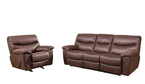 Abbyson Living CI-10787-3/1 Henry Fabric Sofa and Recliner Set