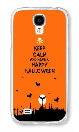 Phone Case Custom Samsung Galaxy S4 I9500 Phone Case Keep Calm And Have A Happy Halloween Transparent Polycarbonate Hard Case for Samsung Galaxy S4 I9500 Case