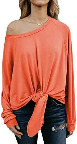 d639a344a Womens Plus Size Long Sleeve Blouse Shirts Casual Knot Tie Front Loose Tee  Tops Off Shoulder