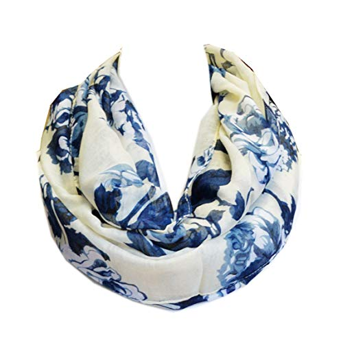 SCARF_TRADINGINC Floral Light Weight X-large Infinity Scarf (Rosa White Ink) (Mens Floral Scarf)