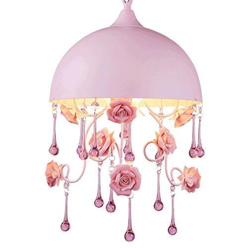Korean Garden Rose Flower Crystal Hanging Lights, Pink Round lid Chandelier, Children's Princess Living Room Study House Decorated Chandelier