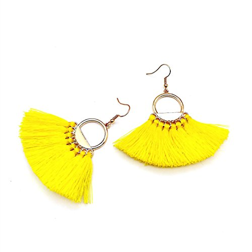 Tassel Earrings Bohemian Sector Long Dangle Earrings Fan Shape for Girls Women Dangle Drop Gold Plated Fish Hoop Yellow (Shape Earrings Fan)