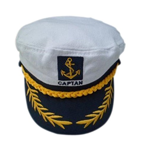 [eYourlife2012 Adult Yacht Boat Ship Captain Costume Navy Marine Admiral Hat Cap (White)] (Ship Captain Costumes)