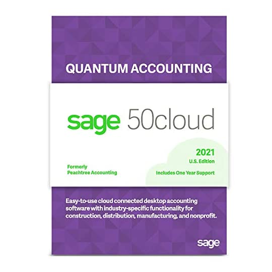 Sage Software Sage 50cloud Quantum Accounting 2021 U.S. 5-User One Year Subscription Cloud Connected Accounting Software…