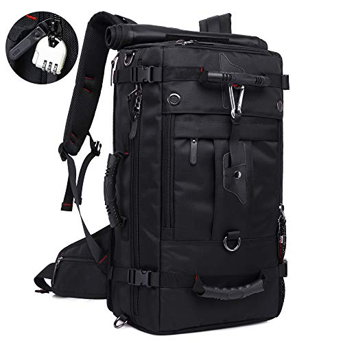 KAKA Travel Backpack,Laptop Backpack Waterproof Hiking Backpack Men Women College Students,Anti-Theft Bag Fits 17 inch Laptop 40L(Black)