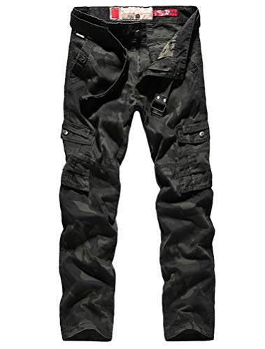 Lavnis Men's Casual Cargo Pants Military Army Camo Combat Camouflage Work Pants Green 28