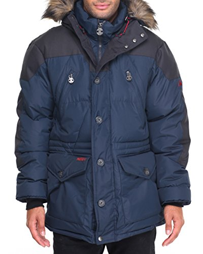 J. Whistler Mens Snorkel Bubble Puffer Hooded Jacket Coat Insulated Faux Fur Trim Navy XL (Mens Hooded Ski Jackets compare prices)
