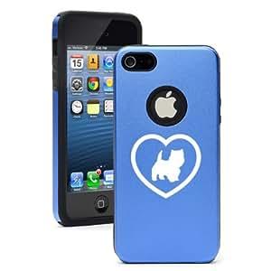 Apple iPhone 5c Blue CD3314 Aluminum & Silicone Case Cover Westie Heart