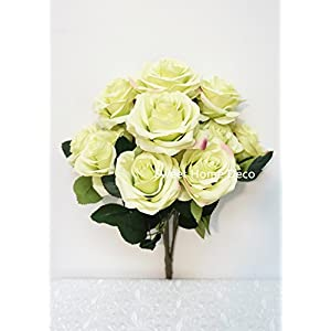 Sweet Home Deco 18'' Princess Diana Rose Silk Artificial Flower Valentine's Day (10 Stems/10 Flower Heads), The Most Beautiful Roses for Wedding/Home Decor (Light Green) 46