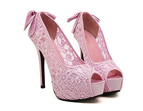 mujeres De Onfly Respirable Peep De Zapatos las 35 boda Zapatos Tamaño de puntiagudo Dedo la de Toe Bomba Tacón Vestir UE alto Cordón del Corbata pie de Pink Sandalias Encantador moño 41 Estilete IYIqr