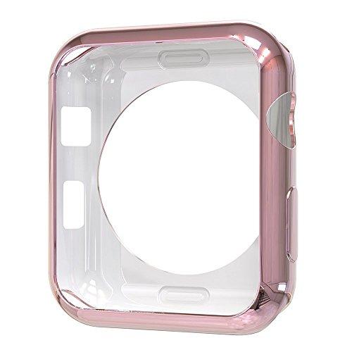 Tech Express Chrome Bumper Case for Apple Watch [iWatch Cover] Ultra Slim Skin Rugged Flexible TPU Gel Case Anti Scratch Accessories Tough Metallic Open (Rose Gold, 42mm)