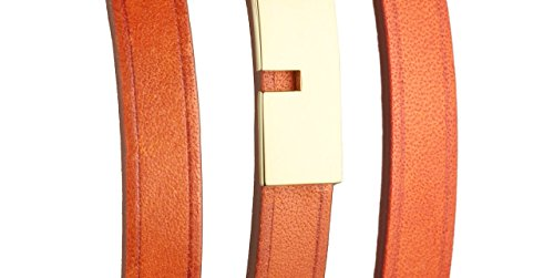 Ursul Bracelet femme en cuir et acier plaqué or 18K U-Turn Triple, Rouge, M