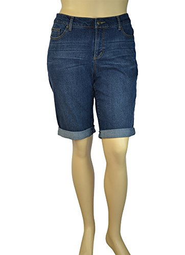 Alfa Global Women's Plus Size Ultra Soft Rolled-Up Bermuda Short (16W, Dark Denim) (Plus Size Teen)
