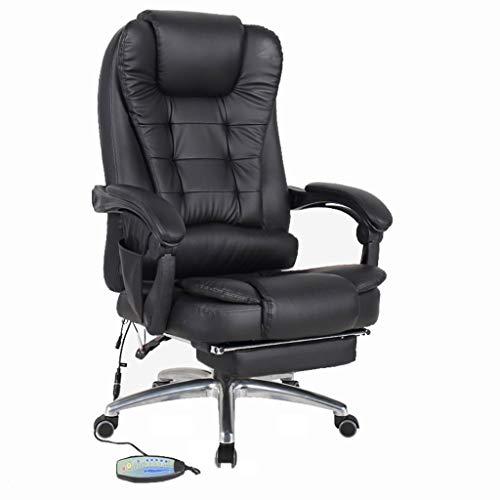 LAZ Giratoria Silla de Oficina con Respaldo Alto reclinable Silla de Escritorio del hogar 360 ° de rotacion del Ordenador Silla de Cuero Apoyabrazos Respaldo Pedal