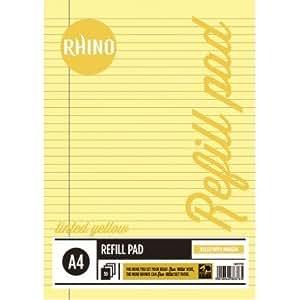 Rhino - Libreta de repuesto (a rayas, con margen, A4), color amarillo