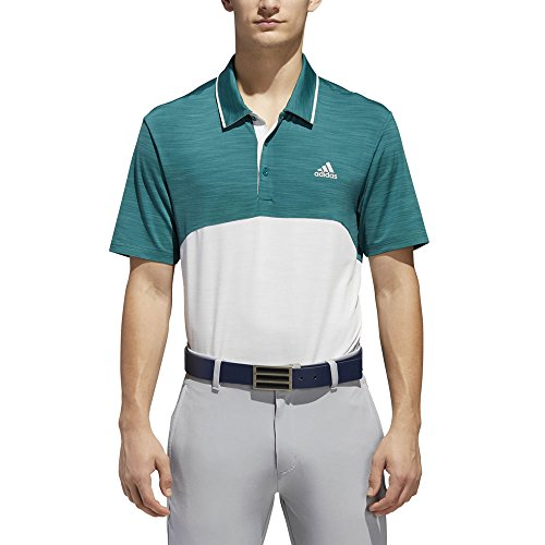 adidas Golf Men's Ultimate Heather Blocked Polo Noble Green/Grey One Heather X-Large