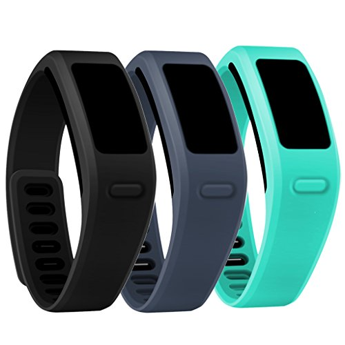 Henoda 10 Colors Replacement Wristband with Metal Clasps for Garmin Vivofit Bands (3PCS Basic Black+Teal+Slate, Small)