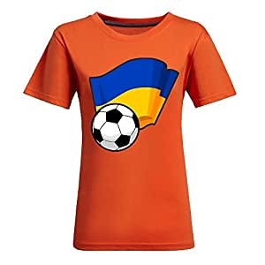 Custom Womens Cotton Short Sleeve Round Neck T-shirt with Flags,2014 Brazil FIFA World Cup Soccer Flags Orange
